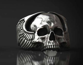 Winged Skull Ring - (Sterling Silver 925, Made in Italy )