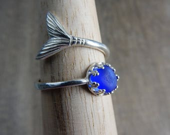 Cobalt Blue Sea Glass Mermaid Ring - Real Seaglass in Bright Sterling Silver Mermaid Tail Wrap Ring - Beach Glass Mermaid Jewelry - I