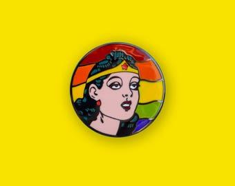 Wonder Woman PRIDE rainbow Enamel Pin - Retro comic book lapel pin