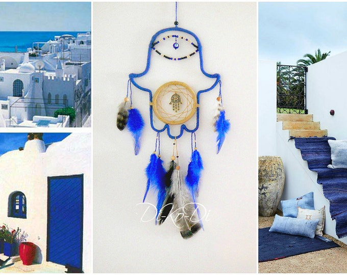 FREE shipping Christmas Dream catcher blue Hamsa wall hanging Boho dreamcatcher Home living dreamcatcher large bohemian decor dreamcatcer