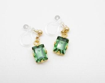 Erinite Green Step-cut Swarovski Crystal Dangle Invisible clip on earrings,Japanese Ω Resin Clip On Earrings,Clip Ons,Non pierced Earrings