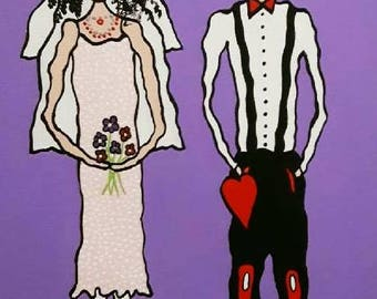 """PoP ArT Painting """"Our Wedding""""  12x16"""
