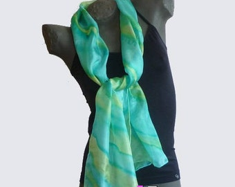 Green and chartreuse yellow scarf. Light and fluid silk painted, signed and hand hemmed
