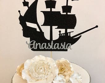 Pirate Ship Cake Topper, Any Name, Pirate Birthday Party Decorations, Pirate Cake Topper