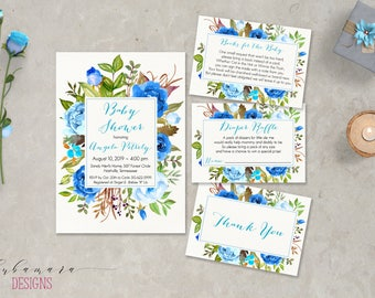 Chic Floral Boy Baby Shower Invitation Set Romantic Blue Peonies Frame Boho Baby Shower Invite Books for Baby Diaper Raffle Cards - CS037