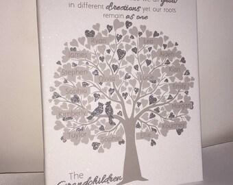 Regalos personalizados del regalo del aniversario de la lona del efecto del polvo del diamante del árbol de familia para la decoración