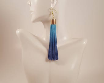 Blue tassel earrings, anniversary gift for women, hand/dyed tassel earrings, ombre earrings, gift for her, special occasion jewelry, tassels