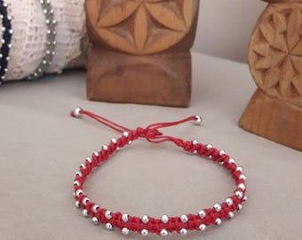 Bollywood style red macramé ankle bracelet