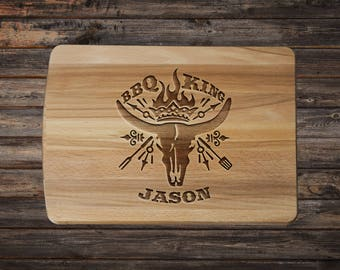 Personalized Cutting Board - Summer Party - BBQ King - Summer Outdoors - Custom Father's Day - Fathers Day Grilling - Gifts for Men