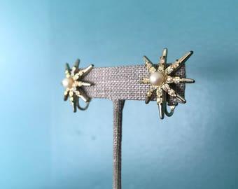 Starburst Earrings. Vintage Star Earrings. Celestial Earrings. Rhinestone Star. Gold Starburst. Rhinstone Starburst. Clip On Earrings
