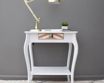 Vintage Oak Table in White with Chevron Design Bedside Table