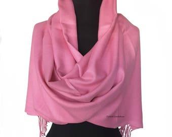 Rose Pink Pashmina Scarf Pink Shawl Pink Wrap Pink Scarf Bridesmaids Gift Pink Wedding Shawl Bridesmaid Pink