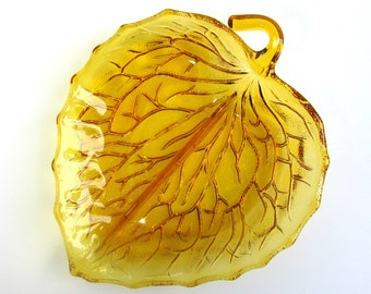 Bagley Amber Glass Leaf Plate / Dish / Serving Dish / Amber Depression Glass / Divided Leaf Dish / Bagley / England / Hostess Plate / Gift