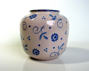 Vintage German Vase / Hand Painted / Waechtersbach / Mid Century / Modern / West Germany / Round / Ribbed / Floral / Beige / Pink / Blue