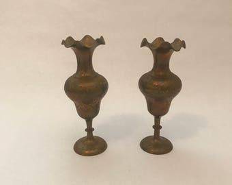 Set of 2 Ornate Fluted Brass Vases