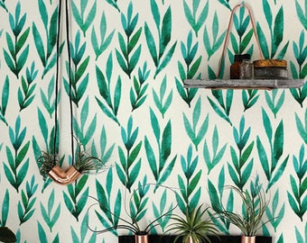 Green watercolor leaves Removable wallpaper, Self-adhesive wallpaper, BW012
