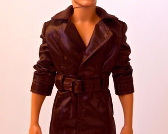 Barbie clothes - Ken doll leather coat Ken clothes Ken jacket