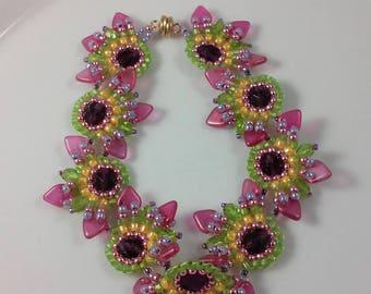 Triangle & Seed Bead Bracelet (beadweaving - rose pink triangle beads; amethyst purple fire polished, chartreuse, sunny orange seed beads)