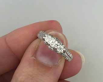14k White Gold 3-Stone Diamond Engagement Ring with Accents .50CTTW RESIZABLE!