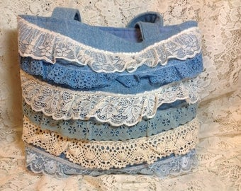 Blue Jean and Lace Tote