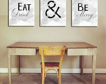 Eat Drink Be Merry Kitchen Sign Print Wall Art