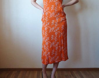 Floral Summer Maxi Dress Bright Orange Sleeveless Lining Flower Grunge Boho Hippie Small Size
