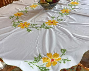 VINTAGE Cross Stitched FALL Tablecloth Yelow Green And Orange Floral Flower  Embroidery