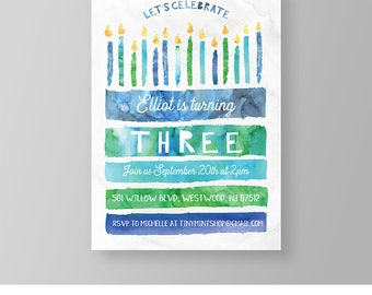 Boy Birthday Invitation | Blue Watercolor Birthday Cake Invite | Edit Yourself Template | Printable | Instant Download | Templett  #040BBD