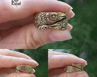 viking ravens ring huginn and muninn ring viking wedding ring raven ring - Viking Wedding Rings
