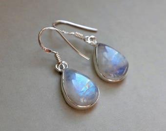 Moonstone Earrings, Teardrop Moonstone, Rainbow Moonstone, June Birthstone, Moonstone Jewelry for Bride, Pear Shaped Gemstone Earrings