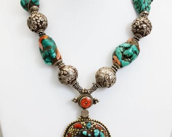 Large Tibetan Coral & Brass Inlay Turquoise Stone Pendant Necklace w/ Nepalese Sterling Silver Repousse and Inlayed Turquoise Beads