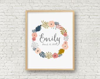 Personalized Baby Print Printable Art Print - customizable - personalized for a child or baby gift and emailed to you to print at home 8x10