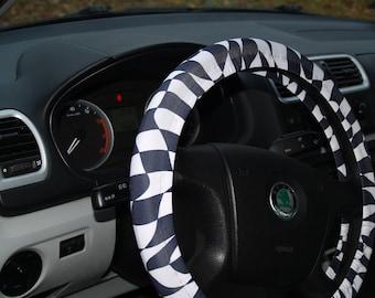 Steering wheel cover NASCAR steering wheel Formula 1 wheel cover Finish flag cover Car accessories Car sport decor Steering wheel decor Gift