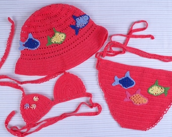 Crocheted Bikini & Bonnet for little girls swimsuit children Baby crochet swimsuit swimwear Crochet baby bikini newborn swimsuit beachwear