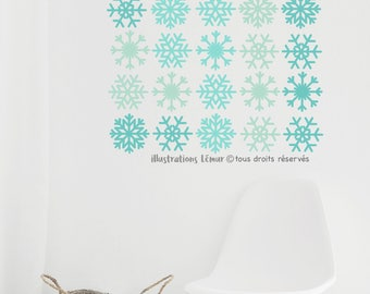 Wall decals SNOWFLAKES 3.5 inches, REPOSITIONABLE, quality vinyl, color, removable wall sticker