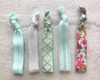 5 pack light blue, floral, shimmer elastic hair ties