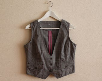 Grey Vest Gray Plaid Vest Women's Vest Women Steampunk Vest Checkered Fitted Waistcoat Medium Size