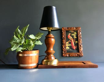mid century lighting. vintage mid century small wood and brass table lamp with black textured shade accent lighting r