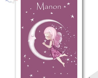 "wall art print personalized  ""Moon "". Nursery art."