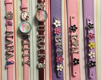 Custom Made Slider Bracelets with 8mm Charms in Various Colors and Styles - Adjustable - Great Gifts - Custom Order Available!