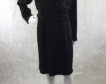 Wool Crepe Draped Dress 1990's does 1940's Long Sleeve Above Knee   Vintage Saks Fifth Avenue   Folio   Office Wear   Little Black Dress