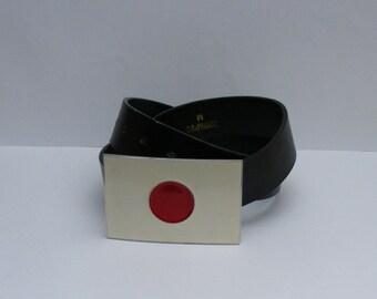 Vintage Japan Flag Buckle Belt with faux leather strap in black / faux leather belt