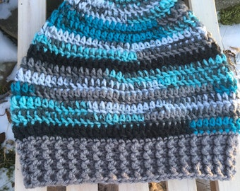 Blue Gray White Black Multi Handmade Crochet Hat with Wide Gray Textured Band