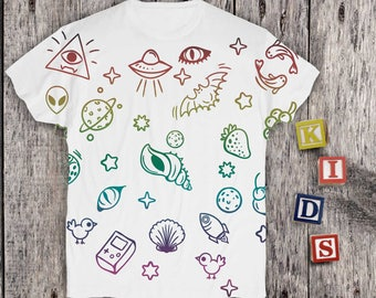 Full Printed Childrens Shirt Kids Shirts Design Toddlers Outdoor T-shirts Girls Printed Shirts Boys Shirts Graphick Design Tee PA1140