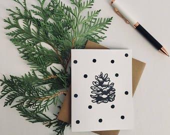 holiday card, christmas card, christmas, pinecone, monchrome, greeting card, seasonal,
