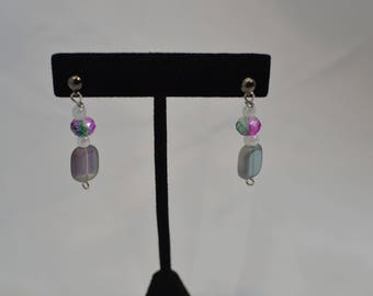 Handmade Beaded pierced dangle EARRINGS #251