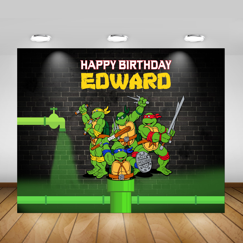 Printable TMNT Teenage Mutant Ninja Turtle Party Backdrop Birthday Poster Sign Banner