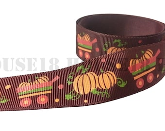 """Pumpkin Grosgrain Ribbon Fall Ribbon Printed Ribbon 1"""" Wide DIY Hair Bow Gift Wrapping Scrapbooking"""