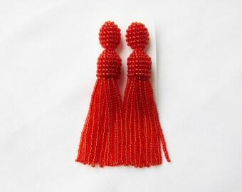 Red shiny tassel earrings Beaded tassel earrings Oscar tassel earrings Long fringe earrings Red earrings Red jewelry handmade Stud earrings