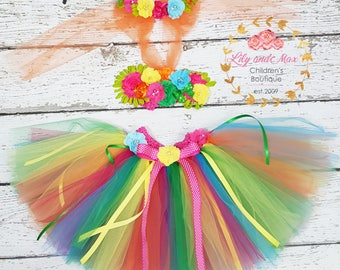 Hula Luau Birthday Outfit, First Luau Birthday Tutu Outfit, Tropical colors Luau Tutu Set, Hawaiian tropical flower headband, flower top